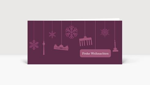 Weihnachtskarte Berlin Flakes auf violett