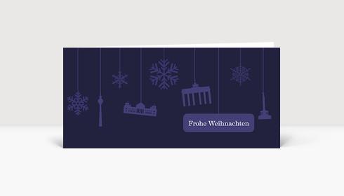 Weihnachtskarte Berlin Flakes auf dunkelviolett