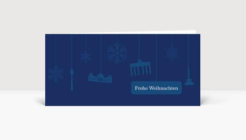 Weihnachtskarte Berlin Flakes auf dunkelblau
