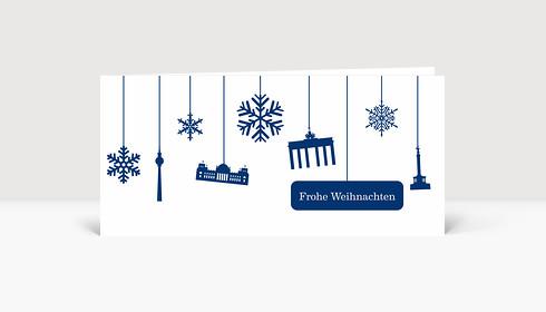 Weihnachtskarte Berlin Flakes blau auf weiß
