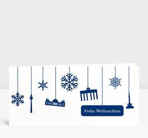 Weihnachtskarte Berlin Flakes blau-weiß