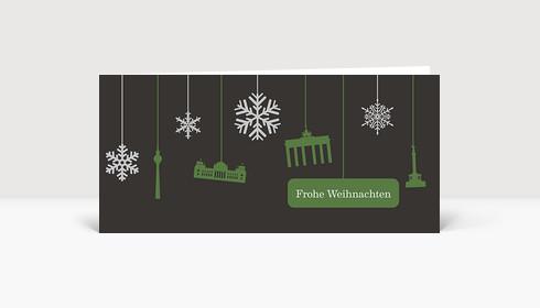 Weihnachtskarte Berlin Flakes grün auf grau