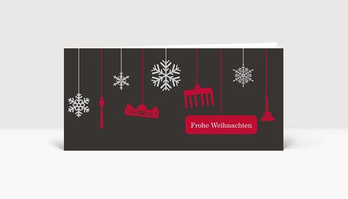 Weihnachtskarte Berlin Flakes rot auf grau