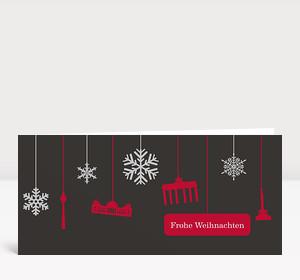 Weihnachtskarte Berlin Flakes rot-grau
