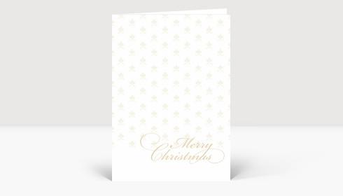Weihnachtskarte Edles goldenes weihnachtliches Muster auf weißer Karte