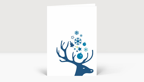 Weihnachtskarte Kleiner Hirschkopf blau auf weiß
