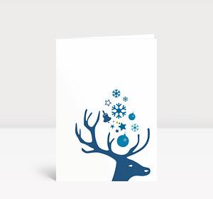 Weihnachtskarte Kleiner Hirschkopf blau