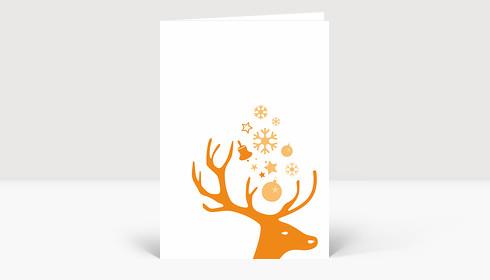 Weihnachtskarte Kleiner Hirschkopf orange auf weiß