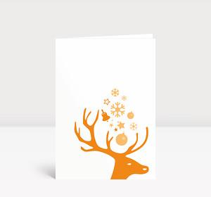 Weihnachtskarte Kleiner Hirschkopf orange