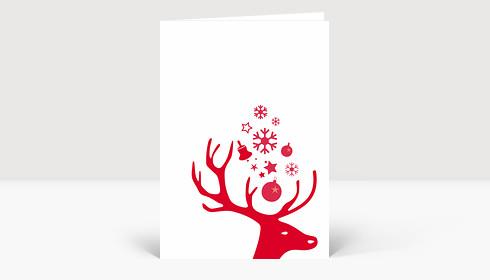 Weihnachtskarte Kleiner Hirschkopf rot auf weiß