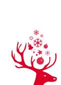 Weihnachtskarte Kleiner Hirschkopf rot