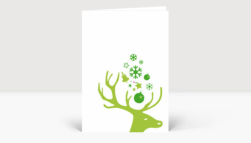 Weihnachtskarte Kleiner Hirschkopf grün auf weiß