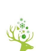 Weihnachtskarte Kleiner Hirschkopf grün