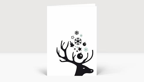 Weihnachtskarte Kleiner Hirschkopf schwarz auf weiß