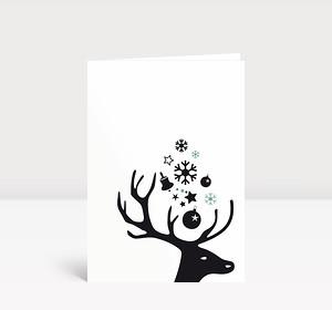 Weihnachtskarte Kleiner Hirschkopf schwarz