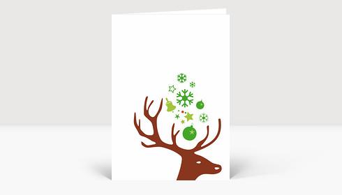 Weihnachtskarte Kleiner Hirschkopf braun auf weiß