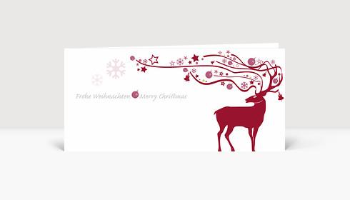 Weihnachtskarte Hirsch mit ornamentalem Geweih rot