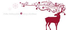 Weihnachtskarte Dekor Hirsch rot