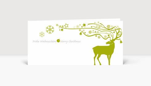 Weihnachtskarte Hirsch mit ornamentalem Geweih grün
