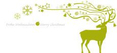 Weihnachtskarte Dekor Hirsch grün