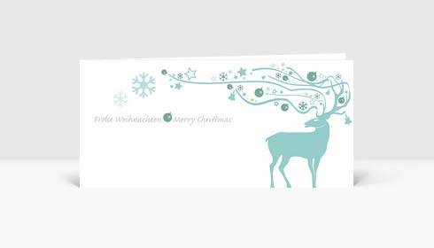 Weihnachtskarte Hirsch mit ornamentalem Geweih eisblau