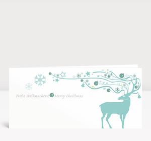 Weihnachtskarte Dekor Hirsch eisblau