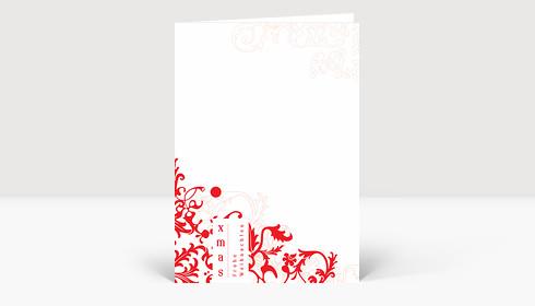Weihnachtskarte Weihnachtliches ornamentales Muster rot auf weißer Karte
