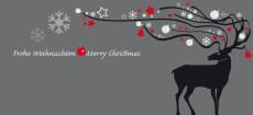 Weihnachtskarte Dekor Hirsch schwarz rot