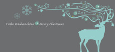 Weihnachtskarte Dekor Hirsch blau auf grau