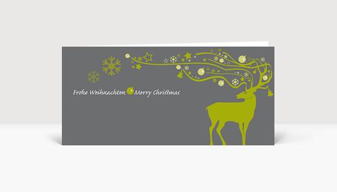 Weihnachtskarte Dekor Hirsch grün auf grau