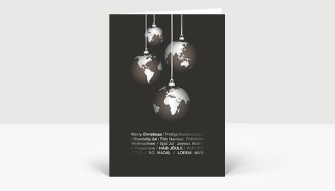 Weihnachtskarte Weltkugeln international grau