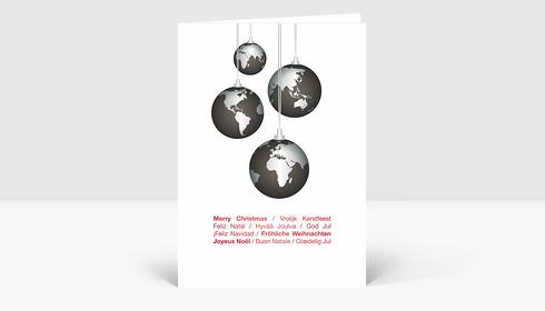 Weihnachtskarte Weltkugeln international rot auf weiß