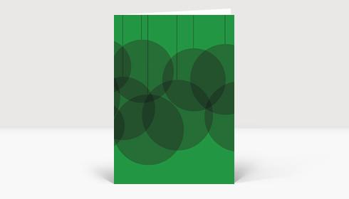 Weihnachtskarte Verschmelzende Weihnachtskugeln grün