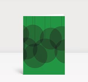 Weihnachtskarte Verschmelzende Kugeln grün