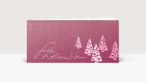 Weihnachtskarte Weihnachtsbäume auf rotem Karton
