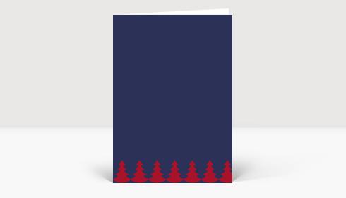 Weihnachtskarte Weihnachtsbaumkette rot auf blau