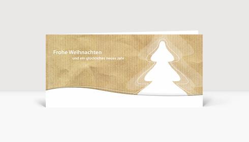 Weihnachtskarte Weihnachtsbaum in Landschaft auf Karton