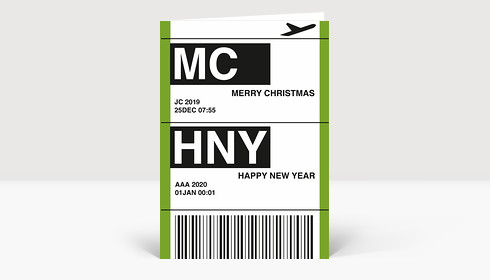Weihnachtskarte Flugticket grün 2018