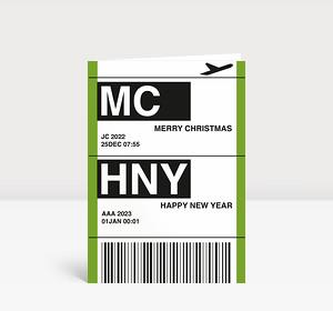 Weihnachtskarte Flugticket grün 2021