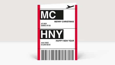 Weihnachtskarte Flugticket rot 2020