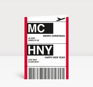 Weihnachtskarte Flugticket rot 2021