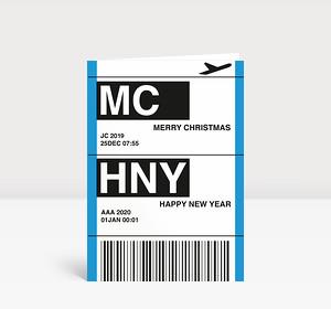Weihnachtskarte Flugticket blau 2018