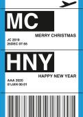 Weihnachtskarte Flugticket blau 2019