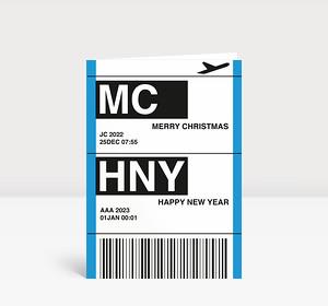 Weihnachtskarte Flugticket blau 2021