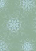 Weihnachtskarte Schneeflockenmuster blau grün