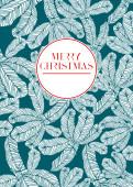 Weihnachtskarte Tannenzweige türkis