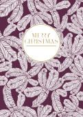 Weihnachtskarte Tannenzweige violett