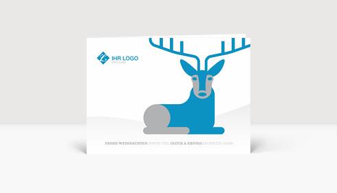 Weihnachtskarte Hirschlein blau