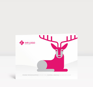 Weihnachtskarte Hirschlein pink