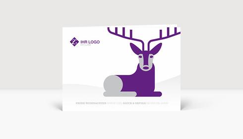 Weihnachtskarte Hirschlein violett